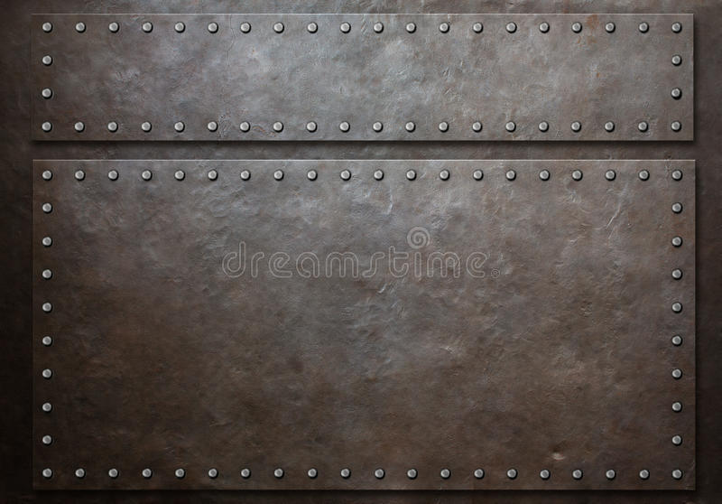 Two stained steel plates with rivets over metal background royalty free stock photography