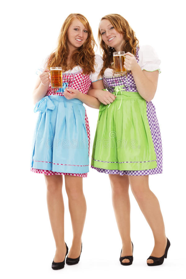 Two Standing Bavarian Woman With Beer Royalty Free Stock Images