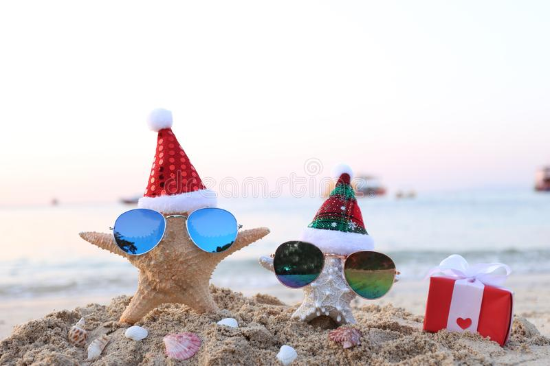 Two starfish on sea beach with sunglasses and santa hat for Merry Christmas and New Years stock image
