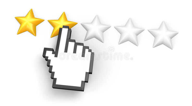 Two Stars Rating. Hand Cursor. Royalty Free Stock Image
