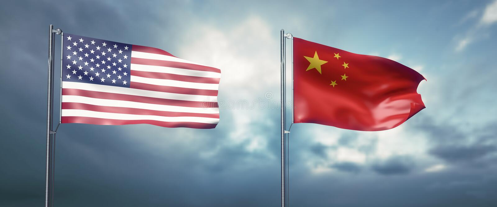 Two state flags of the united states of america and china, facing each other and moving in the wind in front of cl royalty free illustration