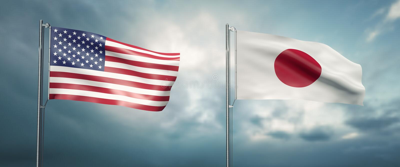 Two state flags of the united states of america and japan, facing each other and moving in the wind in front of cl. 3d illustration two state flags of the united royalty free illustration