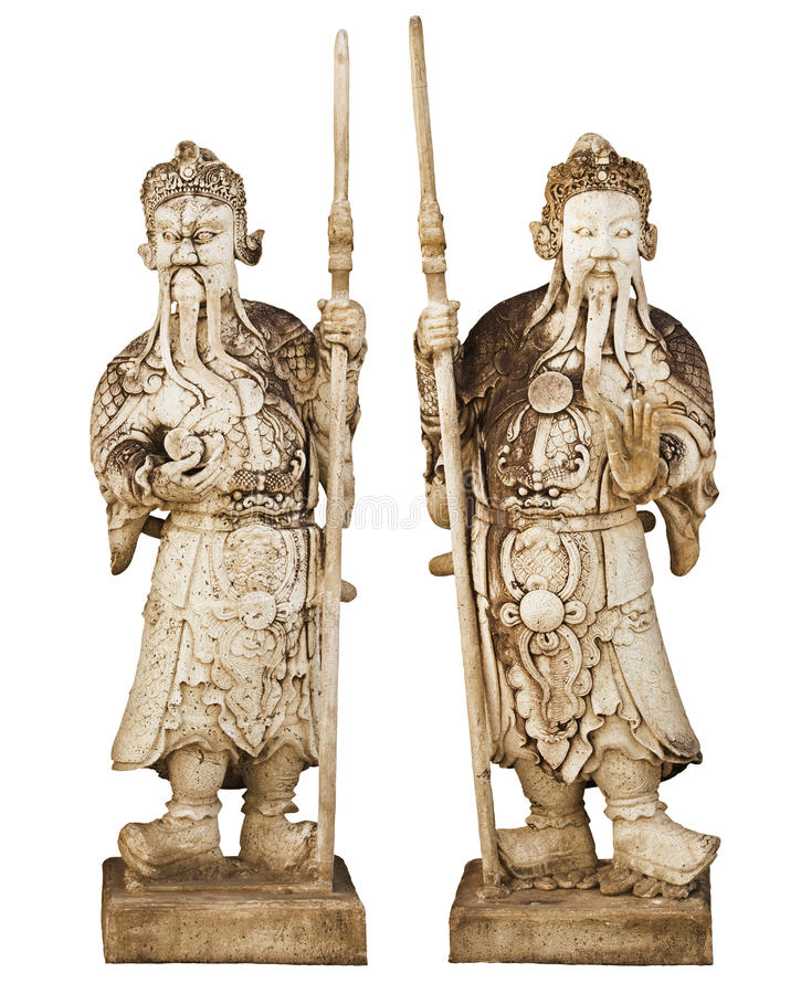 Two statues of ancient Chinese warriors isolated on white background stock images