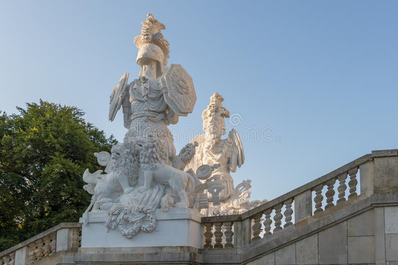 Two statues in Schonbrunn Gloriette Palace in Vienna, Austria. Vienna, Austria - September 3, 2019: Two statues in Schonbrunn Gloriette Palace in Vienna, Austria stock photo