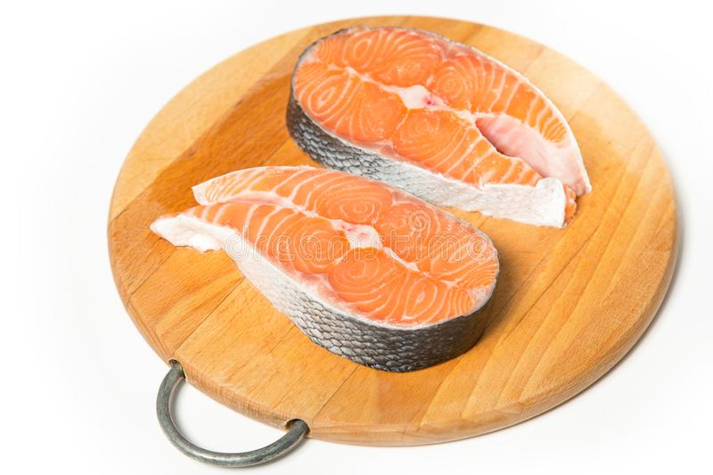 Two steaks of salmon fish. royalty free stock photos