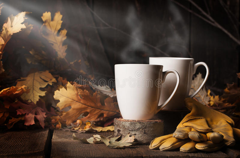 Two Steaming Cups Coffee 2 royalty free stock photo