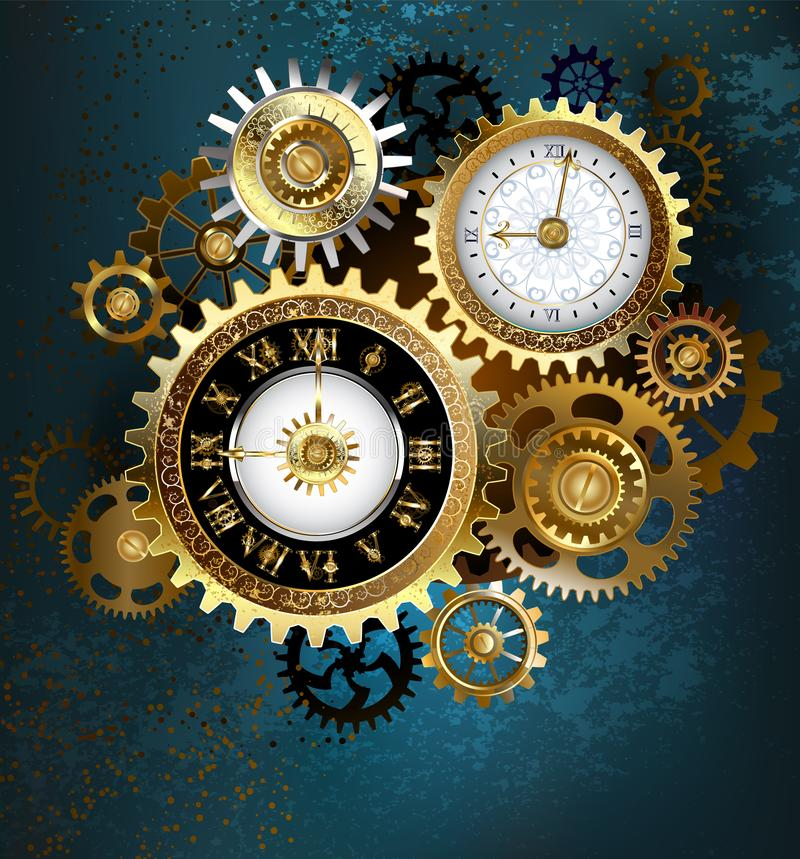 Free Two Steampunk Clocks With Gears Stock Photo - 115031540