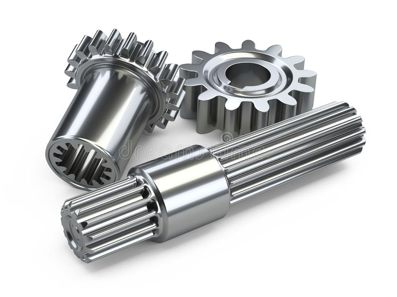 Two steel gears wheels and shaft. Two steel gears wheels and shaft - close-up. 3d illustration isolated on white background stock illustration
