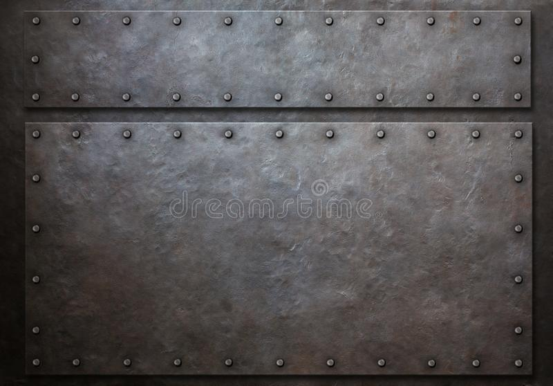 Two metal panels with rivets metal background 3d illustration. Two steel metal panels with rivets over grunge background royalty free illustration