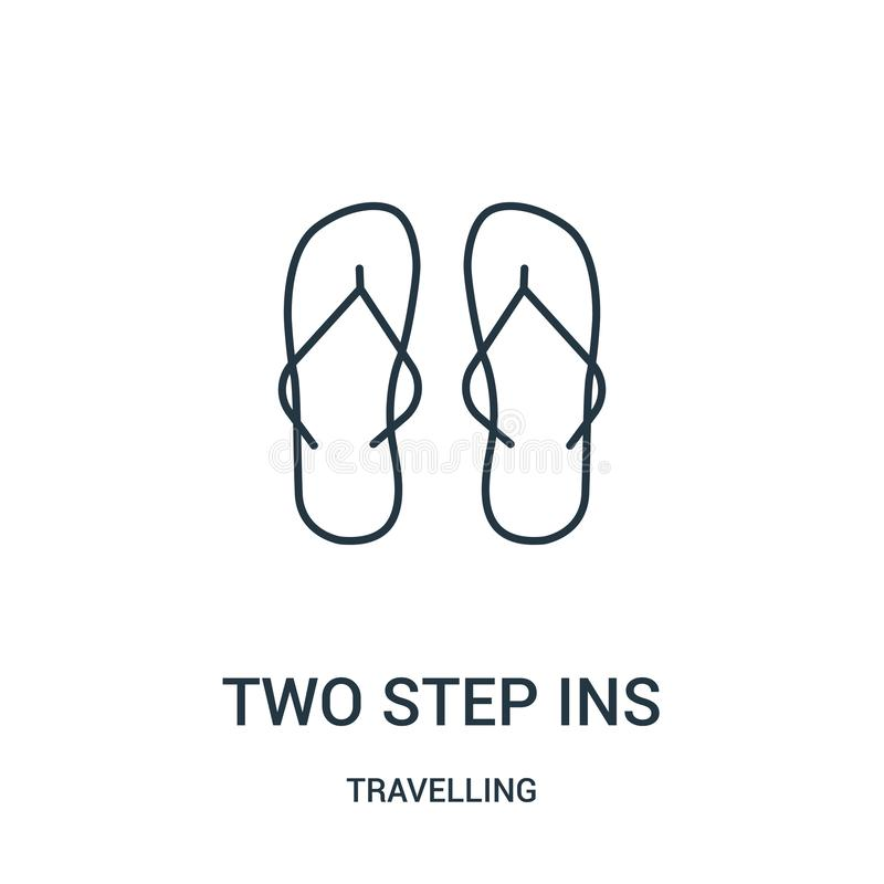 two step ins icon vector from travelling collection. Thin line two step ins outline icon vector illustration. Linear symbol stock illustration