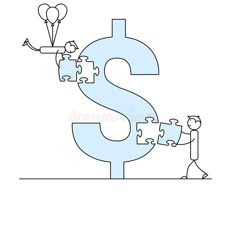Two stick figure people solving dollar symbol puzzle. Two stick figure people solving dollar symbol jigsaw puzzle stock illustration