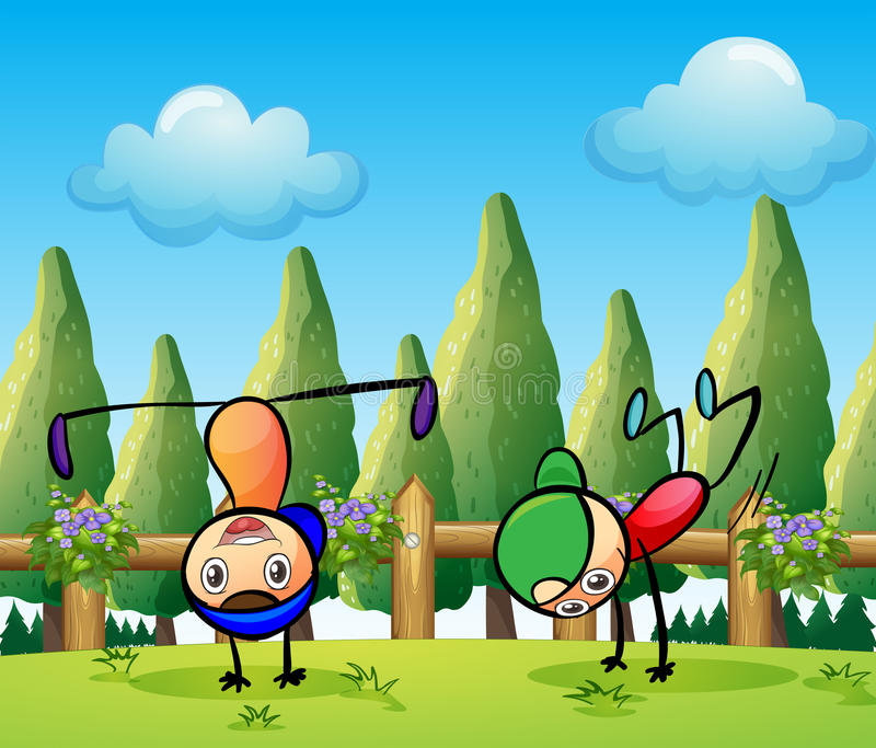 Two stickmen playing near the pine trees vector illustration