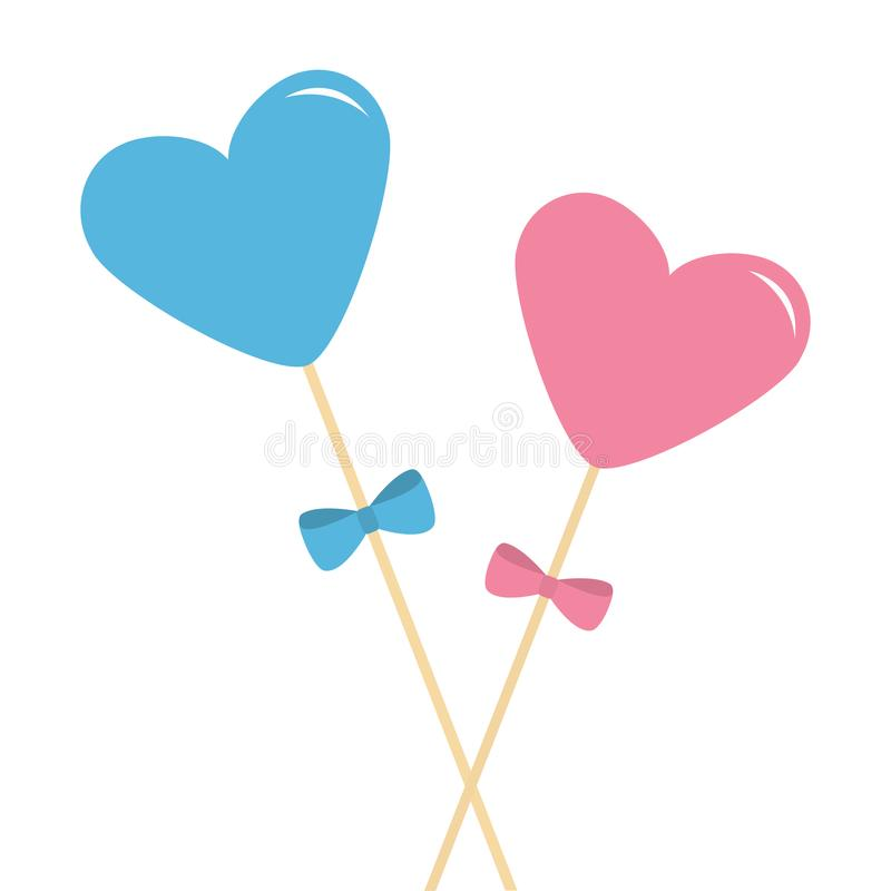 Download Two Sticks With Hearts And Bows Pink Blue Pastel Colors Happy Valentines