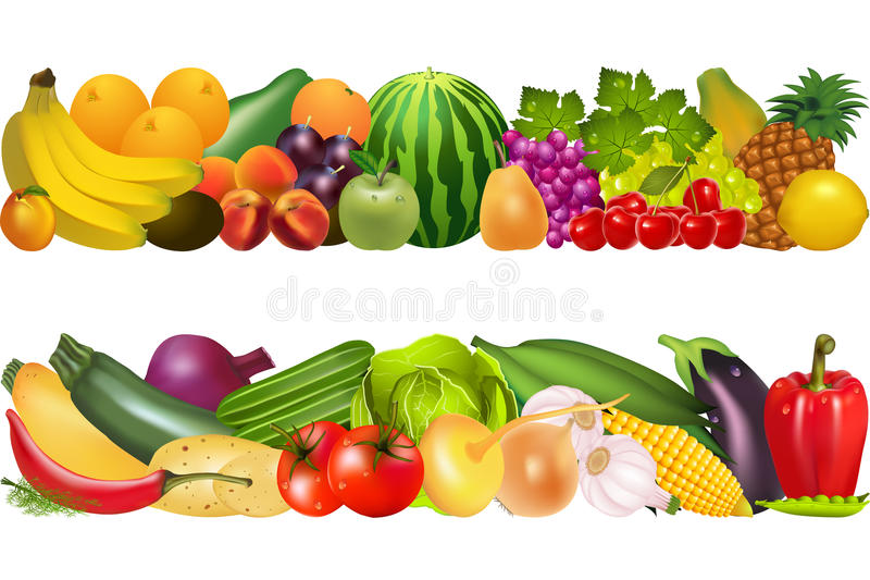 Two still life food vegetables and fruits royalty free illustration