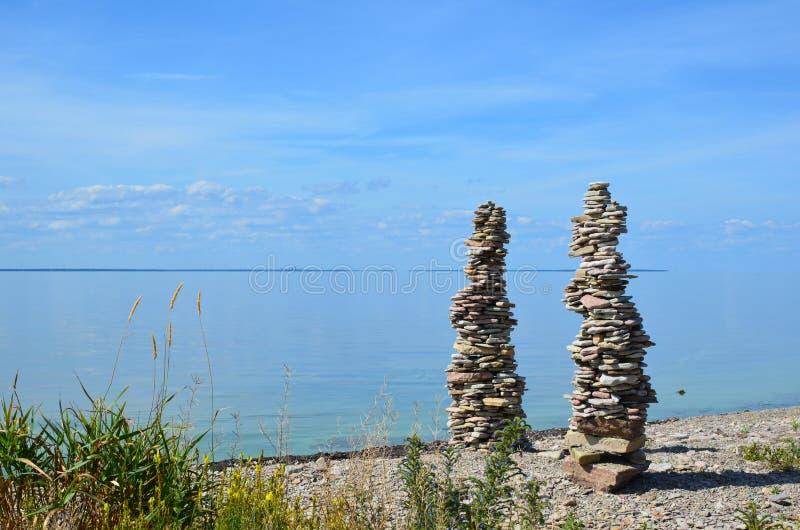 Download Two stone piles stock photo. Image of pebble, ocean, oland - 33221630
