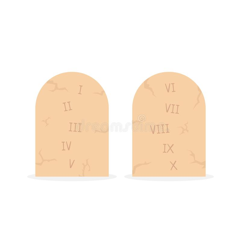 Two stone tablets with ten commandments vector illustration