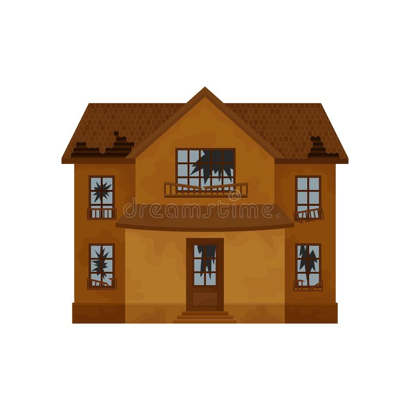 Two-storey brown house with destroyed roof, broken windows and door. Old abandoned cottage. Flat vector design. Two-storey brown house with destroyed roof vector illustration