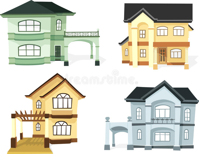 Two Storey House Set stock vector. Illustration of design - 70982179