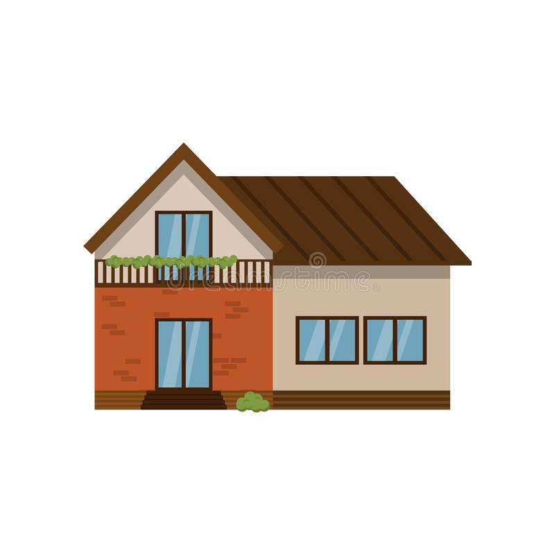 Two-storey huis met zolder op witte achtergrond wordt geïsoleerd die vector illustratie