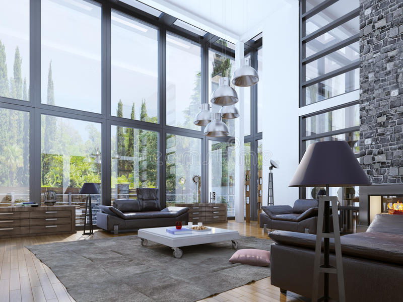 Two-storey moderne woonkamer met panoramische vensters stock fotografie