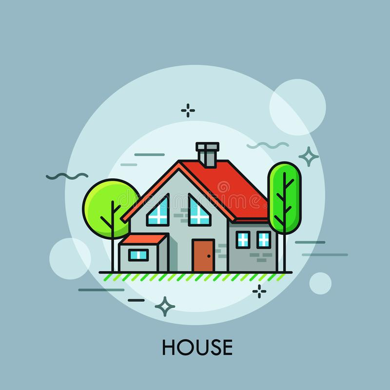 Two-storied house with red roof surrounded by green trees. Concept of housing, residential building, real estate. royalty free illustration