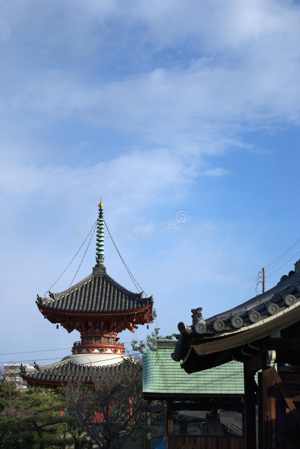 Two-storied Pagoda And The Winter Sky Of Japan Royalty Free Stock Images