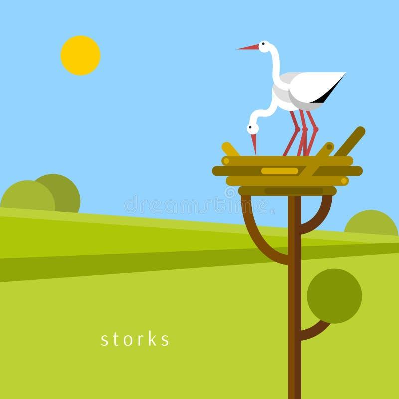 Two stork in the nest. stock illustration