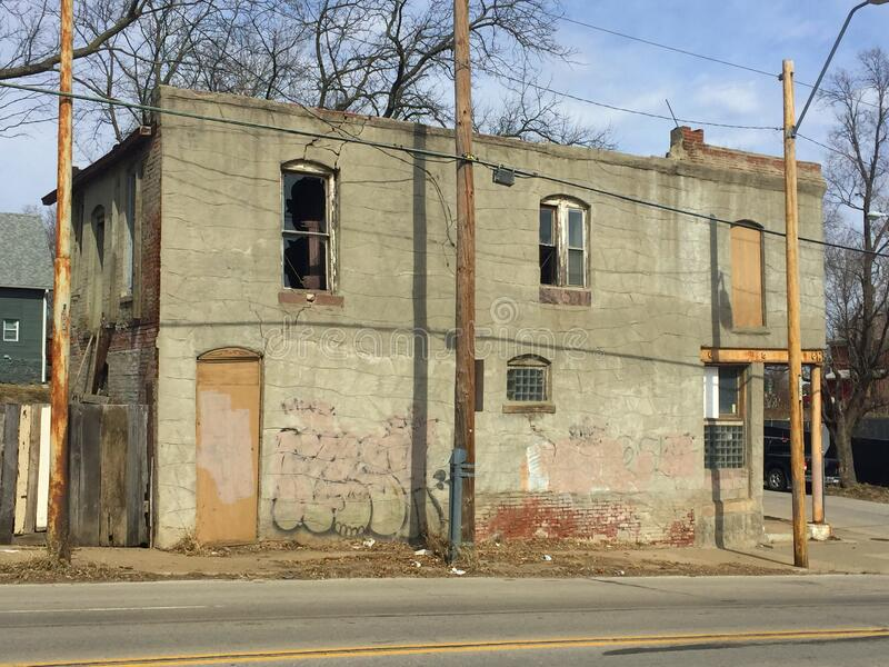 Two story abandoned business street side close up stock photos