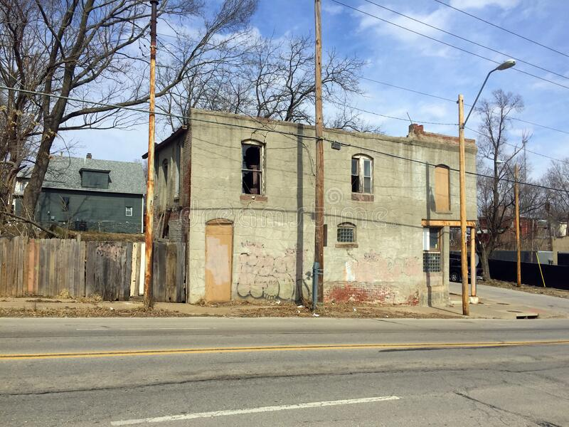 Two story abandoned business street side view stock photos