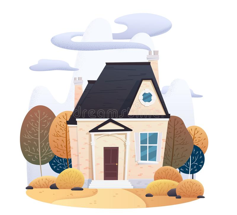 Two story autumn house with falling leaves and decorated with on isolated background vector illustration