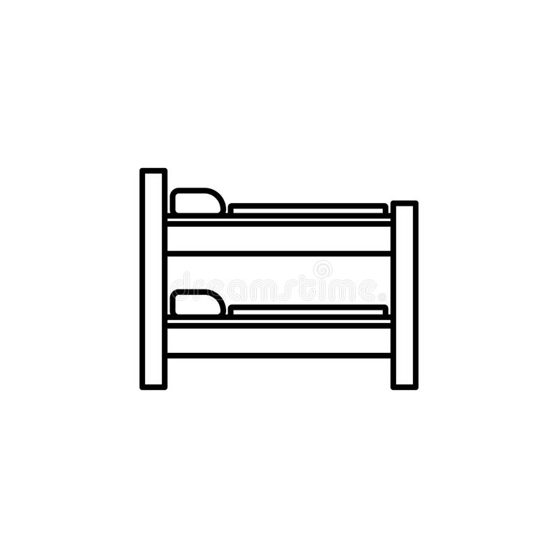 two-story bed icon. Element of furniture for mobile concept and web apps. Thin line icon for website design and development, app stock illustration
