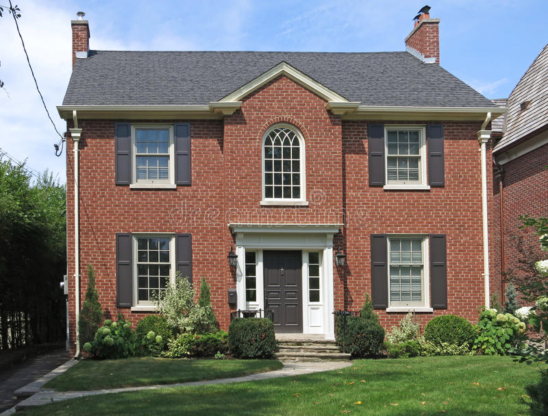 Two story brick house stock photo image of front for 2 story brick house plans