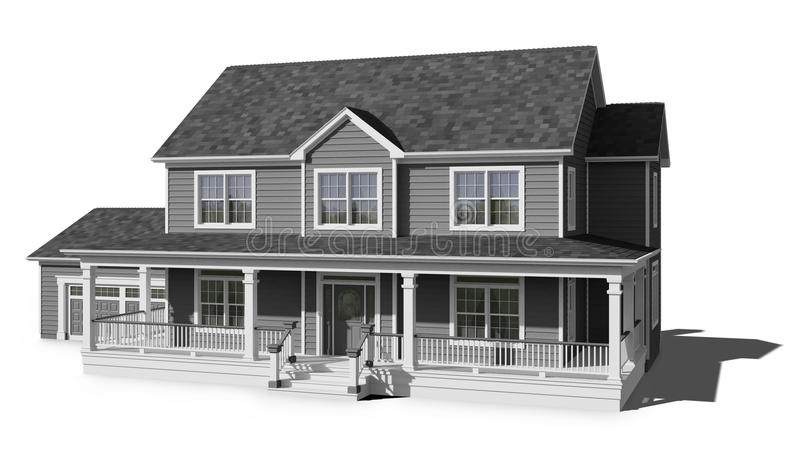 Two Story House - Gray stock illustration