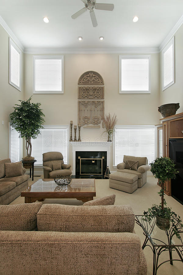 Two story living room stock image