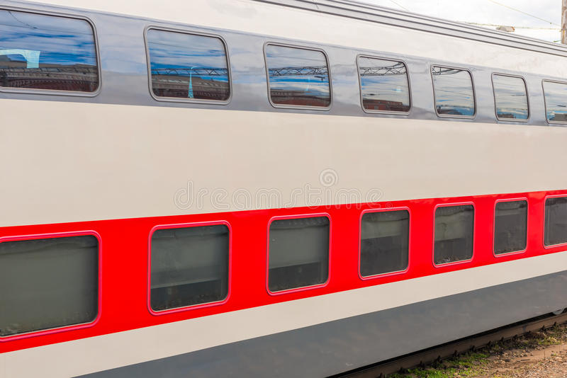 A two-story long-distance passenger train stock images