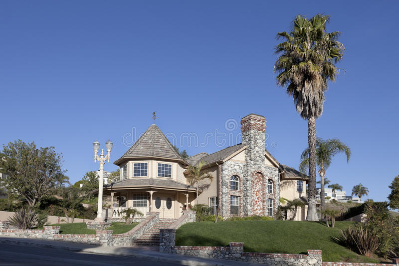 Two Story Luxury House in a Hill Side royalty free stock images