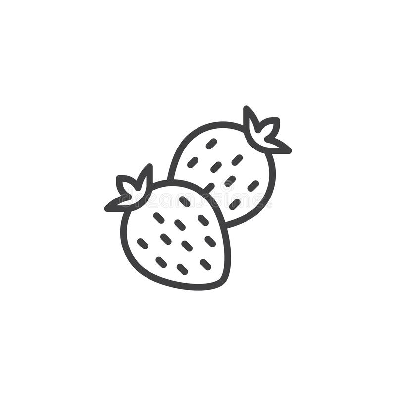 Two strawberries line icon. Linear style sign for mobile concept and web design. Strawberry fruit outline vector icon. Symbol, logo illustration. Vector vector illustration