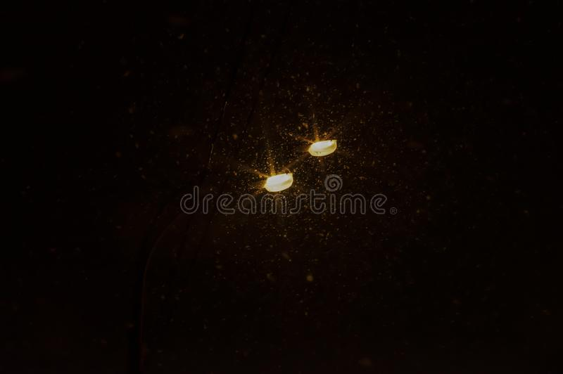 Two Street lamps and snow. On the dark background stock photos