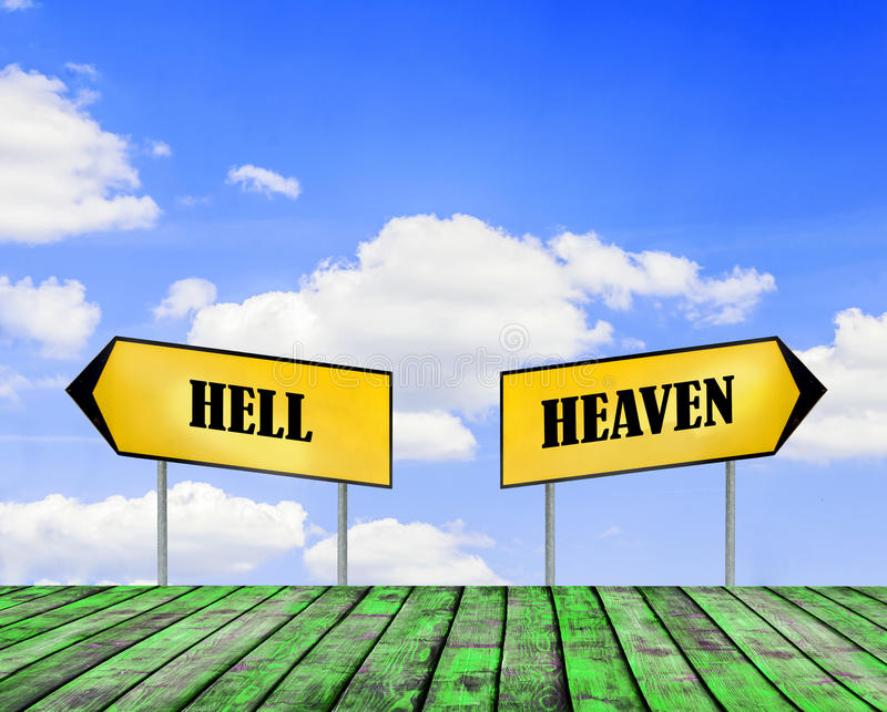 Two street signs heaven and hell with beautiful blue sky with cloudy sky. Close royalty free stock photo
