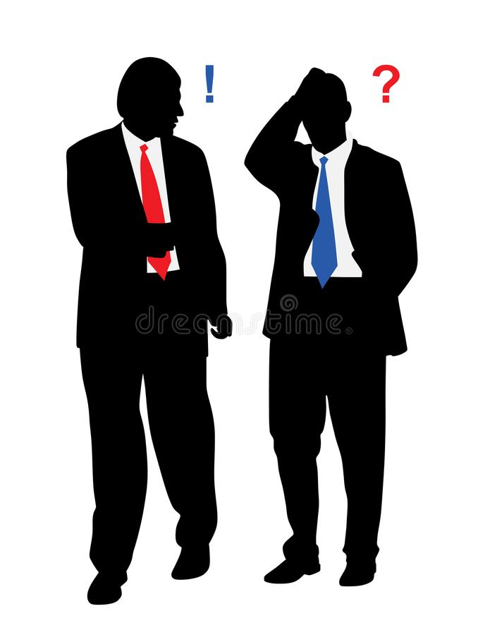 Two stressed worried businessmen with problems talking. Illustration of two stressed worried businessmen with problems talking. Isolated white background. EPS vector illustration