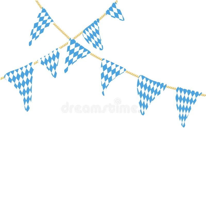 Two string with oktoberfest flags. Isolated on white background. Germany, Bavaria, Munich stock illustration