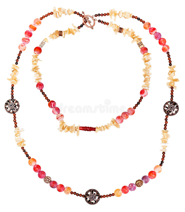 Two strings of necklace from natural gemstones stock photography