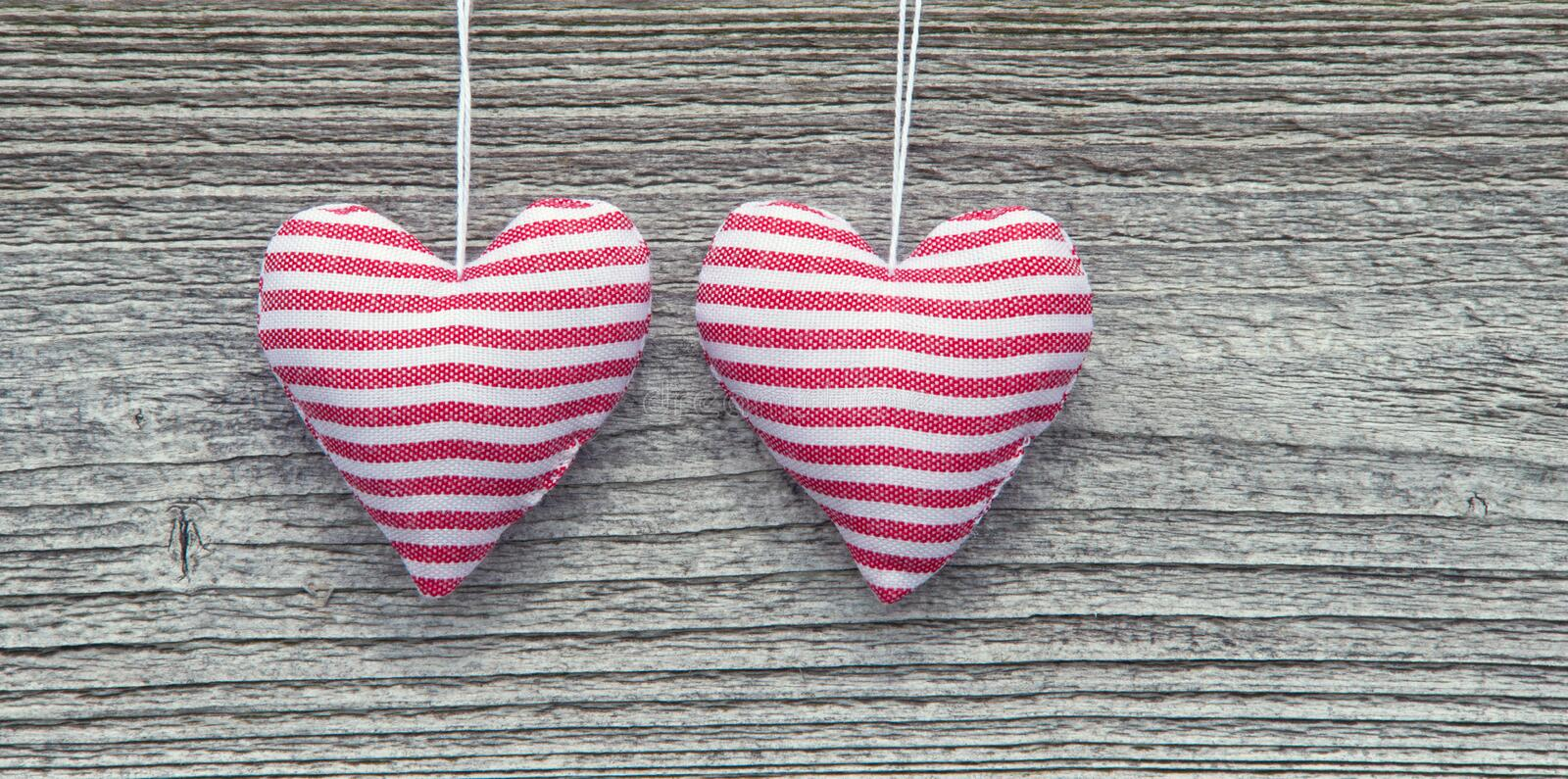 Download Two Striped Fabric Hearts stock image. Image of weathered - 24795177