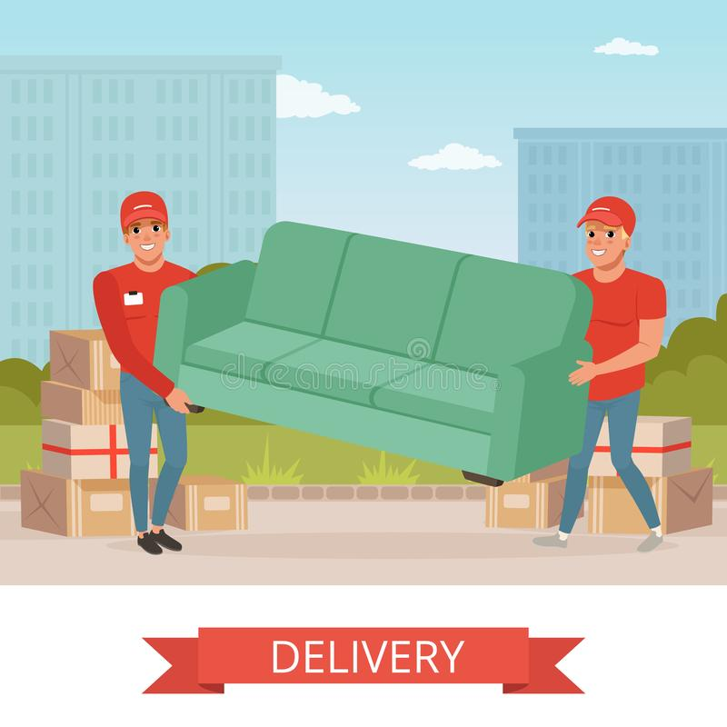Strong guys carrying sofa. Cartoon couriers characters. Express delivery. Relocation and moving service. Transportation stock illustration