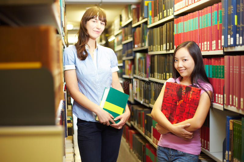 Two student in archive royalty free stock photos