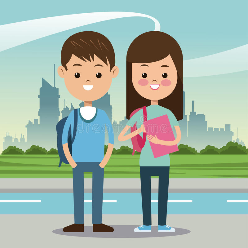 Two students with bag book urban background stock illustration