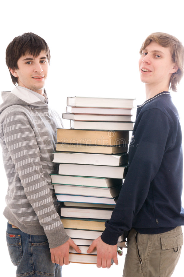 Download Two Students With Books Isolated On A White Stock Image - Image: 4521881