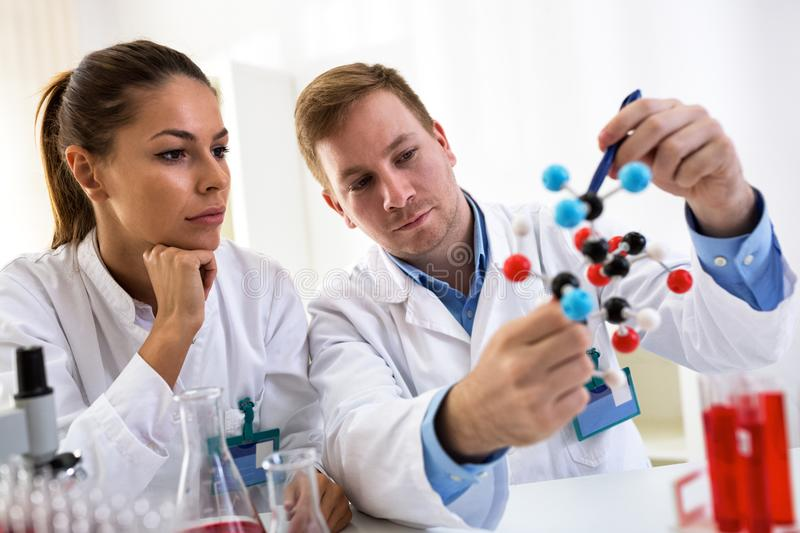 Two students of chemistry looking at molecular model and making. New formula at laboratory royalty free stock images