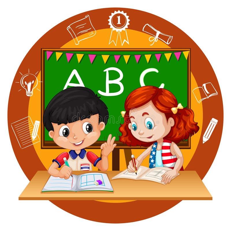 Two students doing homework. Illustration vector illustration