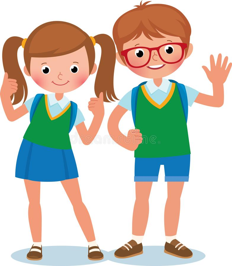 Two students of elementary school boy and girl in full length stock illustration